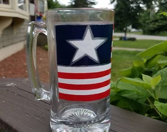 American Flag, Patriotic, Fathers Day, Beer mug, red white and blue, hand painted