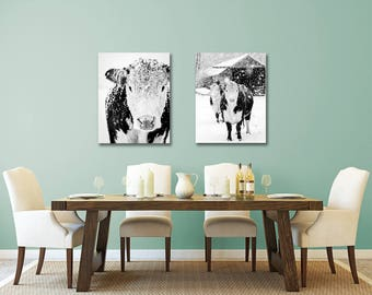 Black And White Cow Art Print Farmhouse Rustic Decor