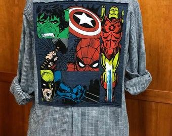 Upcycled Flannel Shirt ... Marvel ... Avengers ... Spiderman, Thor, Iron Man, Captain America ... Disney