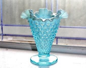Vintage Vase Fenton Glass Blue Opalescent Hobnail Triangle Vase