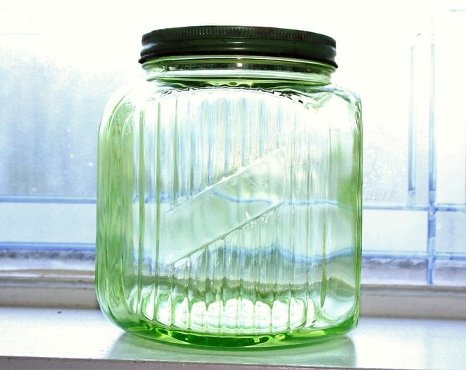 Large Green Coffee Jar Kitchen Canister Vintage 1930s Depression Glass
