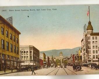 Vintage Postcard, Salt Lake City, Utah, State Street Looking North, 1929