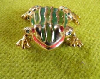 Amazing Huge Rhinestone Frog Brooch, Unsigned Ciner