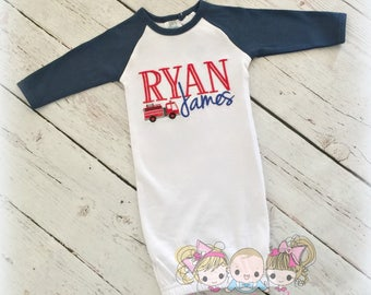 Baby boy gown - Raglan baby gown - Boy coming home outfit - fire truck monogram - Custom embroidered baby outfit
