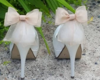 Shoe Clips, Wedding Shoe Clips, Bridal Shoe Clips, Organza Shoe Clips, Bridal Accessories Champagne Shoe CLips, Shoe Clips Only Bow Clips