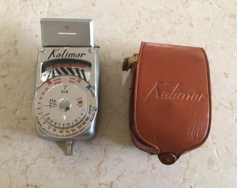 Vintage Kalimar Light Meter in Original Leather Case / Camera Meter / Photography