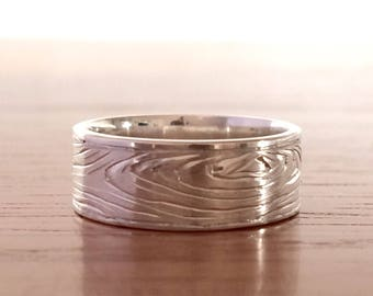 Wood grain nature wedding ring band - sterling silver (925)