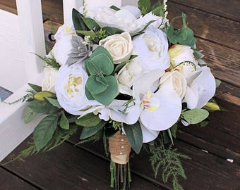 White Bridal Bouquet - Faux Succulents, Silk Flowers, Peonies, Cottage Roses, Orchids, Sola Flowers, Seeded Eucalyptus, Plumosa