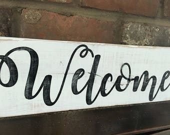 Custom Wood Sign | Welcome | White