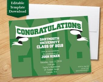 Green and White Graduation Invitation Template, High School Graduation Invitation, College Graduation Invitation, Graduation Party 2018
