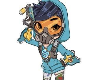Overwatch Tracer Chibi - Graffiti Skin