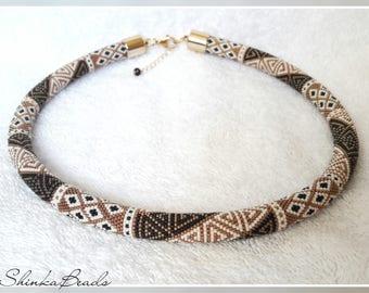Elegant greek style patchwork ornamented bead crochet necklace handmade jewelry