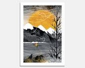 Sail on the Wind Art Print / boat / sunshine / sailing / bird / mountains / sun / bw / yellow / landscape / wallart / interior decor / water