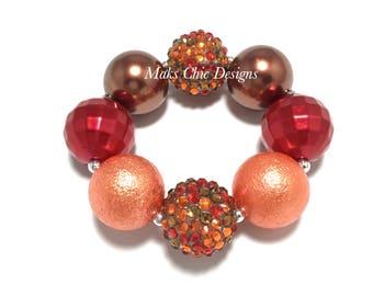 Toddler or Girls Fall Chunky Bracelet - Red, Orange and Brown Chunky Bracelet - Girls Acorn Bracelet - Thanksgiving Chunky Bracelet