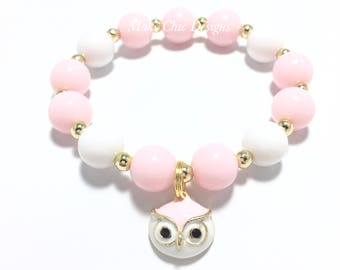 Toddler or Girls Small Beaded Pink Owl Charm Bracelet - Girls Pink and Gold Bracelet - Owl Party Favors - Girls Pink and Gold Owl Bracelet