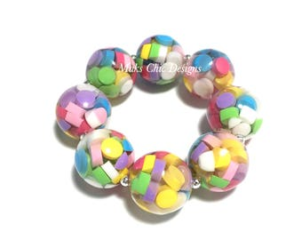Toddler or Girls Candy Chunky Bracelet - Rainbow Sprinkle chunky bracelet - Candy Heart bracelet - Pastel Rainbow Bracelet - Valentines day