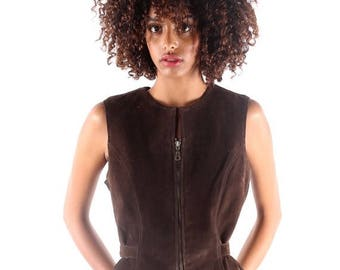 SALE // Vintage Leather Vest | Fitted Equestrian Vest | Brown Leather | French Riding Gear | Fit and Flare Top | Petite Size | Vintage Suede