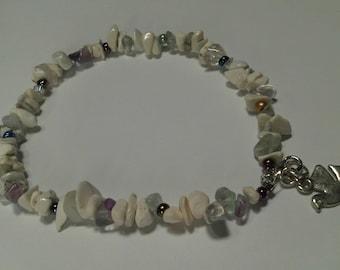 Meditative Ivory/White Magnesite Anklet, Quartz, Flourite & Dove Charm Anklet, Peace Dove Charmed Anklet, Summer Anklet,Summer Jewelry Sale
