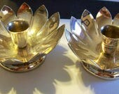 Water Lily Lotus Flower  Console Candle Holders set of 2  Silverplate,Hollowware circa 1960   Free Shipping in USA