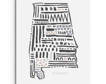 Digital Print - Alabama State - Wall Decor - Giclee Print - Southern Art