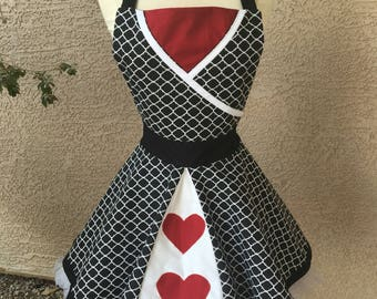 Xtra Small- Queen of Hearts apron dress