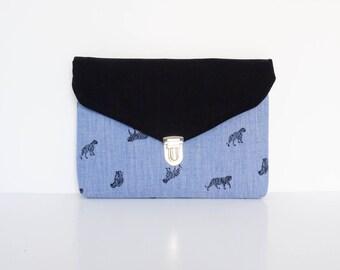 Dress handkerchief envelope flat style! Blue cotton trigres