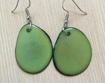 Lime Green Tagua Nut Earrings