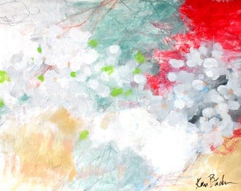 "Intuitive Abstract Painting, Mixed Media on Paper, Modern, Original Artwork ""Casting Petals"" 18x24"""