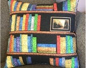 Bookshelf Pillow Cover, 16 x 17 inch, Perfect Gift for Book lovers, Book case, Shelves Quilted Pillow
