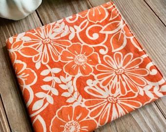 Napkins Flowers Orange dinner reversible Set of 4