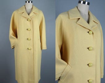Vintage 1950s 1960s Coat 50s 60s Buttery Yellow Wool Coat by Rothmoor Size M