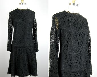 Vintage 1960s Black Lace Drop Waist Dress with Sheer Bell Sleeves 60s Dress Size M