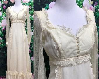 Gunne Sax Cream Lace Wedding Bridal Maxi Prairie Dress 70s Sz 5