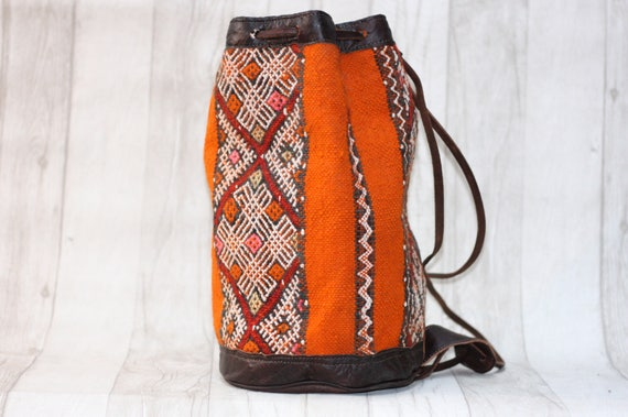 MOROCCAN BUCKET BAG - Embroidered ethnic bag - Hippie rucksack - Kilim bag - Aztec rucksack - Hobo Bag - Shoulder bag - Satchel - Bespoke