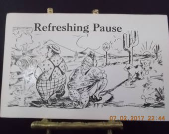 """Vintage Postcard Toilet Humor - """"Refreshing Pause"""" Travelers Relieving Themselves on Route 66 - Bathroom Humor - Black White Collage Art"""