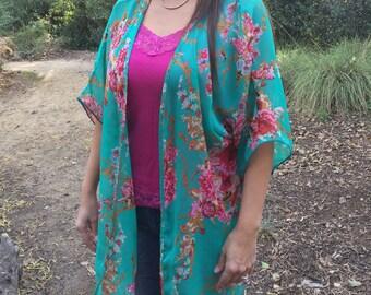 Turquoise Floral Paisley Boho Kimono, Festival Fashion, Kimono, Coachella, Womens Kimono, Floral Kimono, Kimono Cardigan, Beach Coverup,