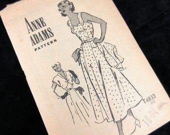 Vintage 1940s Sewing Pattern, Anne Adams, 4883, Sundress, Bolero Jacket, Sz 16