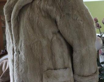Beautiful Vintage White Cream Sheared Mink Coat size Large
