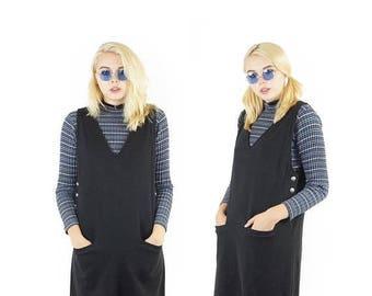 ON SALE Black 90s Jumper Dress, 90s Oversized Pocket Dress, 90s Grunge, V-Neck Layering Dress, Women's Size Medium