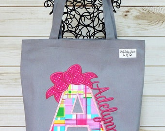 Girls Monogrammed Cotton Canvas Tote Bag Appliqued Bow with Letter and Embroidered Name Bag for Kids Library Tote School Bag Toys Bag;Tote