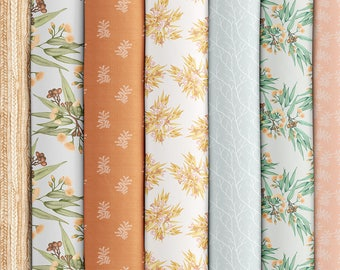 Australian Botanicals x 8 Fat Quarters, Desert Ochre. Thistle and Fox Printed Cotton Fabric for Textile Crafts and Quilting | Ships from USA