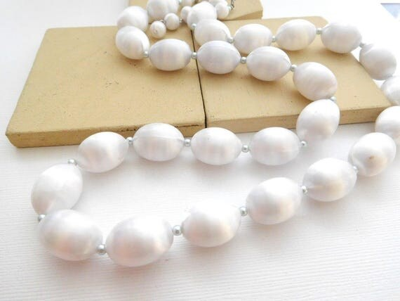 Vintage Signed Japan White Faux Silk Bead Long Single Strand Necklace LL17