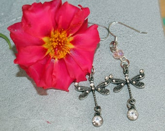 Dragonfly earrings, dragonfly jewelry, dragonfly charm,
