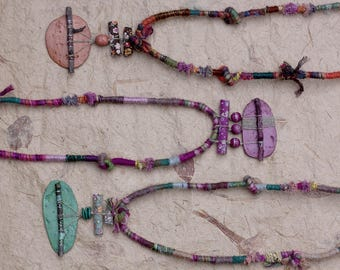 Long tribal necklace, mixed media statement jewelry, rustic fiber necklace with twigs, clay and wooden beads, green, orange, purple, OOAK