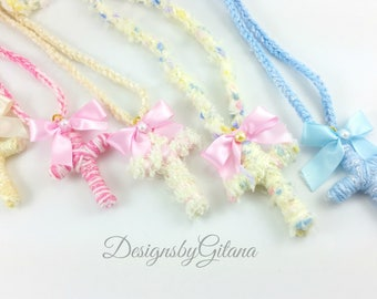 Crosses, Fairy Kei Cross, Fairy Kei Necklace, Religious, Fuzzy Cross, Lolita, Japanese Fashion- Pastel, Pom Poms