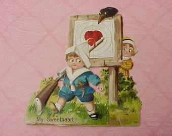 Precious Antique Valentine Card with Darling Children and Crow