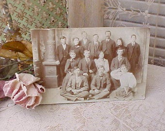 Charming Victorian Sepia Toned Photograph of Group of Mostly Young People