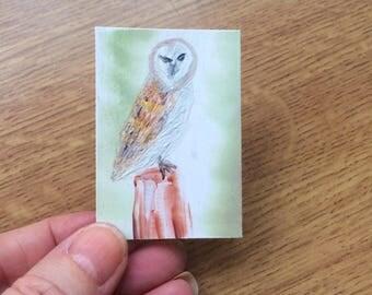 Owl Dolls House Miniature Painting barn owl DollHouse by miniature artist Hazel Rayfield