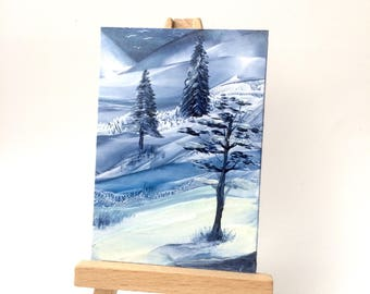 Winter Landscape Original painting aceo art card size for miniature art collectors by Hazel rayfield