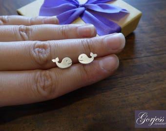 Little Whale Stud Earrings - Handmade Whale Studs - Satin Whale Earrings